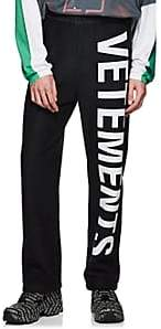 Vetements Men's Logo Cotton-Blend Fleece Sweatpants - Black