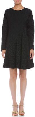 Marni (マルニ) - MARNI リング バックジップ 総柄 長袖ドレス ブラック 38