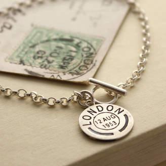 Nicola Crawford Personalised Vintage Style Postmark Bracelet
