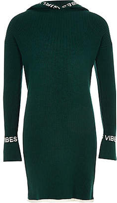 River Island Girls Black 'Girls vibe' hooded knit dress