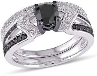 Asteria 1-1/8 Carat T.W. Black and White Diamond Sterling Silver Bridal Set