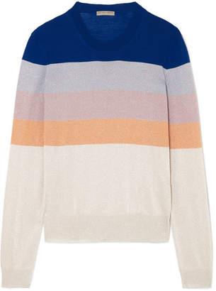 Bottega Veneta Striped Metallic Knitted Sweater - Blue