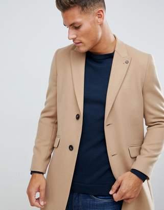 Burton Menswear coat in faux wool in camel