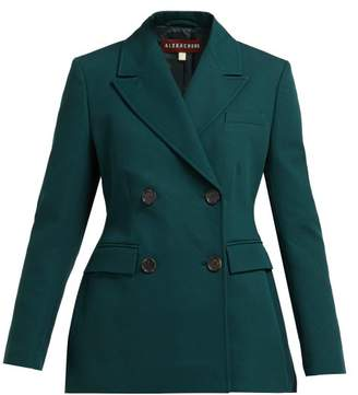 ALEXACHUNG Double Breasted Cotton Twill Blazer - Womens - Dark Green