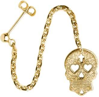CarterGore - Gold Sugar Skull with Heart Eyes Single Long Drop Earring