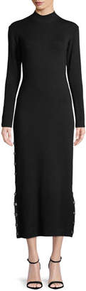 Jonathan Simkhai Wool Turtleneck Eyelet Midi Dress