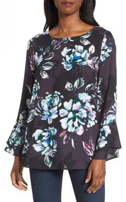 Women's Chaus Twilight Blooms Bell Sleeve Blouse $69 thestylecure.com