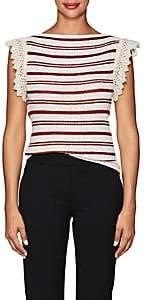 Philosophy di Lorenzo Serafini Women's Crochet-Trimmed Striped Cotton-Blend Top