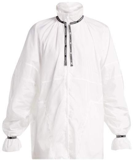 Logo Jacquard Trim Shell Jacket - Womens - White