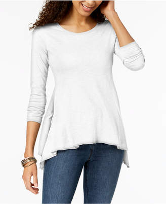 Style&Co. Style & Co Solid Handkerchief-Hem Top, Created for Macy's