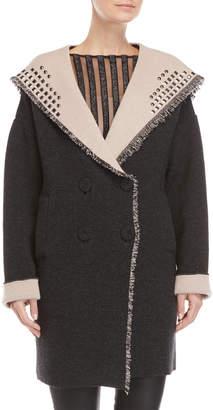 Santi Myf Fausta Studded Fringe Hooded Overcoat