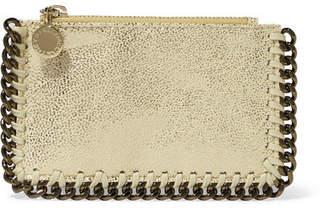 Stella McCartney Metallic Faux Brushed-leather Cardholder - Gold