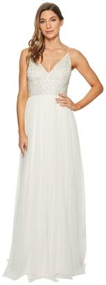 Adrianna Papell Bead Bodice Bridal Gown with Mesh Ball Skirt Women's Dress