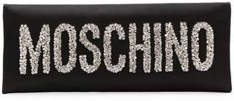 Moschino crystal embellished logo clutch