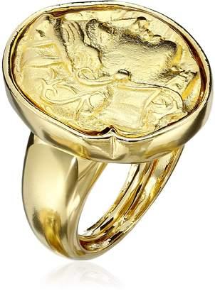 Kenneth Jay Lane Polished and Satin Gold-Tone Adjustable Ring, Size 5-7