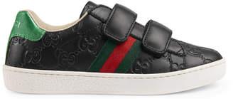 Children's Gucci Signature sneaker with Web $325 thestylecure.com