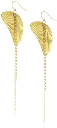"gorjana ""Sydney"" Gold-Plated Textured Charm and Chain Earrings"
