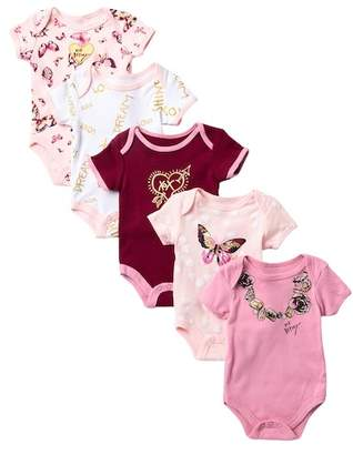 Betsey Johnson Butterfly Print Bodysuits - Pack of 5 (Baby Girls)