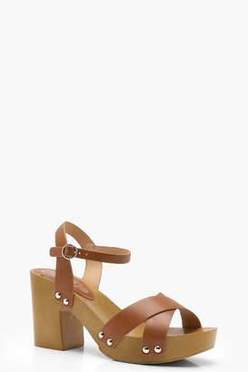 boohoo Ruby Cross Strap Stud Trim Platforms