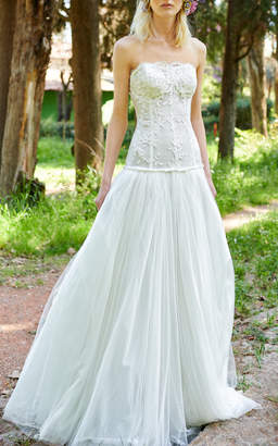 Costarellos Bridal Strapless Lace Gown