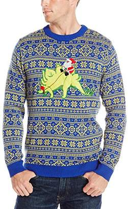 Alex Stevens Men's Stegosaurus Santa Ride Ugly Christmas Sweater