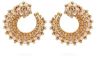 Oscar de la Renta Circular Pave Crystal Earrings - Womens - Gold