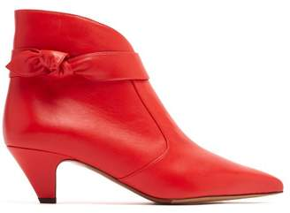 Tabitha Simmons Nixie Point Toe Leather Ankle Boots - Womens - Red