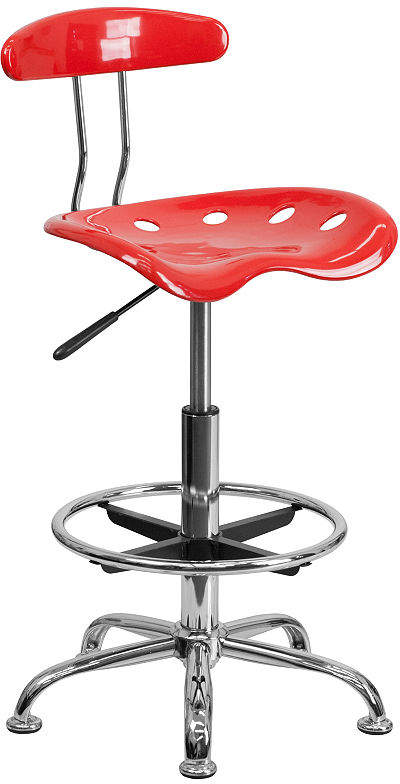Asstd National Brand Vibrant Chrome Drafting Stool with Tractor Seat