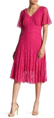 Rabbit Rabbit Rabbit V-Neck Lace Midi Dress