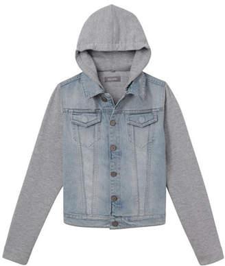 DL1961 Premium Denim Manning Denim Jacket w/ Jersey Hood & Sleeves, Size S-L