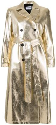 Osman double-breasted metallic trench coat