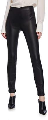 Theory Bristol Lambskin Leather Skinny-Leg Ankle Leggings