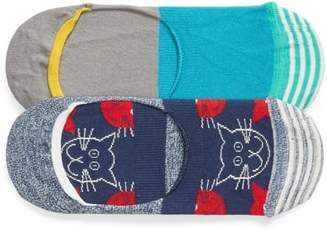 Happy Socks Cats Assorted 2-Pack No-Show Socks