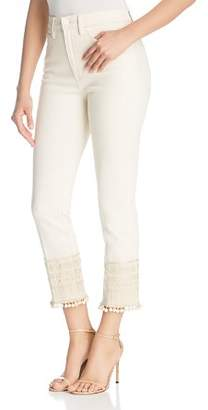 Tory Burch Lana Cropped Pom-Pom Jeans in Heavy Enzy