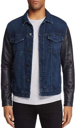 J Brand Scorpius Leather Sleeve Denim Jacket $498 thestylecure.com
