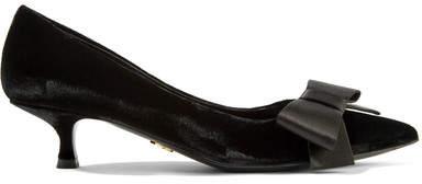 Prada - Bow-embellished Velvet Pumps - Black