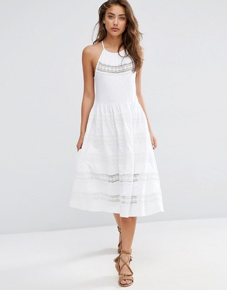 ASOS Cotton Midi Sundress With Lace Inserts $57 thestylecure.com