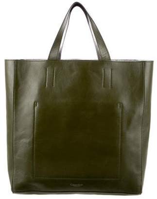 Calvin Klein Collection Metallic-Accented Leather Tote
