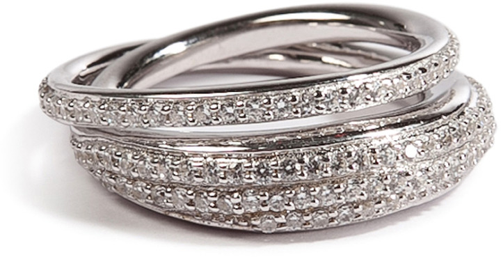 Tom Binns Silver Saturn Ring with White Pave Crystals