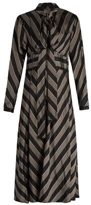 Marc Jacobs - Tie Neck Striped Satin Midi Dress - Womens - Black Grey