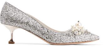 Miu Miu Embellished Glittered Leather Pumps - Silver