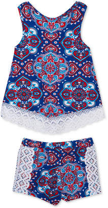 Rare Editions Baby Girls 2-Pc. Paisley-Print Cotton Tank Top & Shorts Set