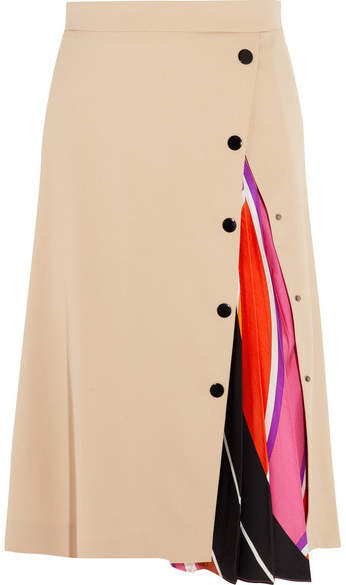 Emilio Pucci - Twill-paneled Silk-blend Midi Skirt - Beige