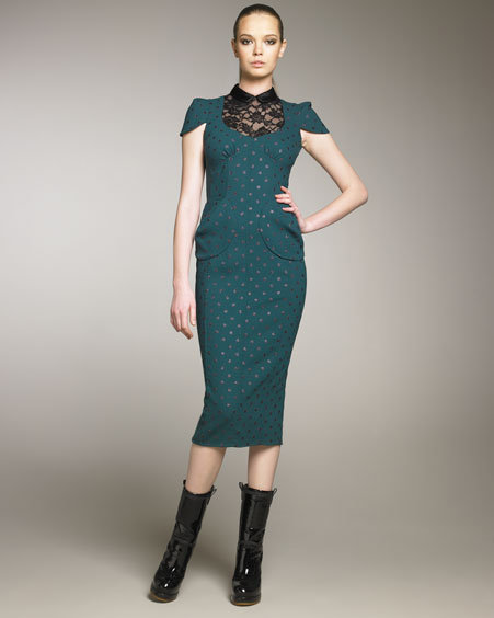Marc Jacobs Glitter Dot Lace-Inset Dress