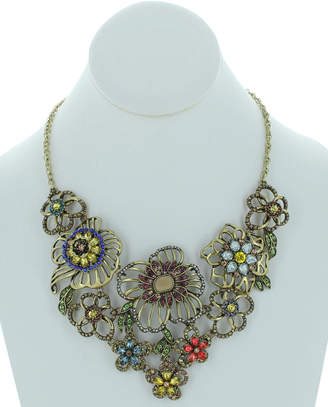 Sparkling Sage 14K Plated Resin Statement Necklace