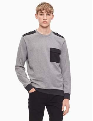 Calvin Klein regular fit mixed media pocket sweatshirt