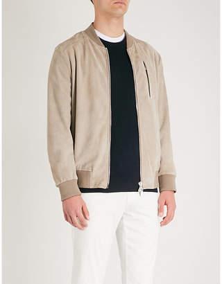 Eleventy Zip-up suede bomber jacket