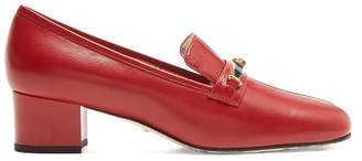 Gucci Centre Stripe Leather Loafers - Womens - Red Navy