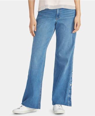 Rachel Roy Snap-Side Raw-Hem Jeans