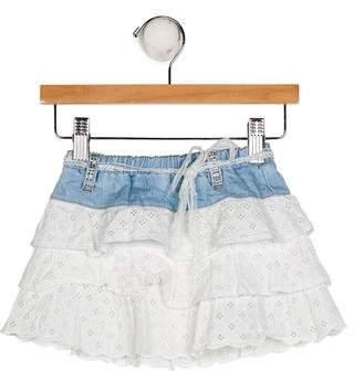 Blumarine Girls' Ruffled Denim Skirt